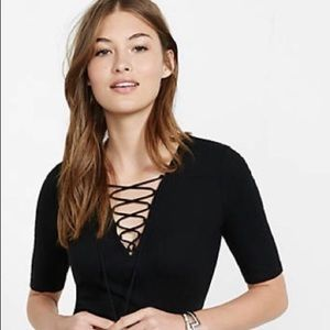 Express Black Lace-up Front Ribbed Top